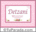 Detzani, nombre, significado y origen de nombres