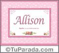 Allison, nombre, significado y origen de nombres