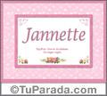 Nombre Tarjeta con imagen de Janette para feliz cumpleaños