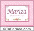 Mariza, nombre, significado y origen de nombres