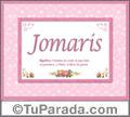Jomaris, nombre, significado y origen de nombres