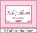 Nombre Tarjeta con imagen de Kelly Allison para feliz cumpleaños