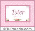 Nombre Tarjeta con imagen de Ester para feliz cumpleaños