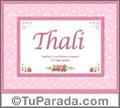 Nombre Tarjeta con imagen de Thali para feliz cumpleaños