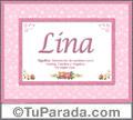 Lina, nombre, significado y origen de nombres