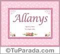 Allanys, nombre, significado y origen de nombres