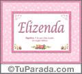 Nombre Tarjeta con imagen de Elizenda para feliz cumpleaños