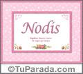 Nombre Tarjeta con imagen de Nodis para feliz cumpleaños