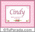 Cindy, nombre, significado y origen de nombres