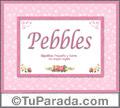 Nombre Tarjeta con imagen de Pebbles para feliz cumpleaños