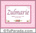 Nombre Tarjeta con imagen de Zulmarie para feliz cumpleaños