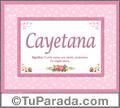 Cayetana, nombre, significado y origen de nombres