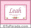 Significado y origen de Leah para imprimir