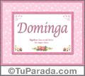 Dominga, nombre, significado y origen de nombres