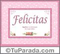 Nombre Tarjeta con imagen de Felicitas para feliz cumpleaños