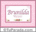 Nombre Tarjeta con imagen de Brunilda para feliz cumpleaños
