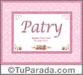 Nombre Tarjeta con imagen de Patry para feliz cumpleaños