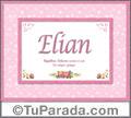 Nombre Tarjeta con imagen de Elian para feliz cumpleaños