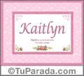 Nombre Tarjeta con imagen de Kaitlyn para feliz cumpleaños