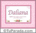 Nombre Tarjeta con imagen de Daliana para feliz cumpleaños