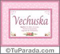 Nombre Tarjeta con imagen de Vechuska para feliz cumpleaños