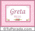 Nombre Tarjeta con imagen de Greta para feliz cumpleaños