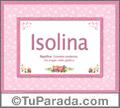 Nombre Tarjeta con imagen de Isolina para feliz cumpleaños