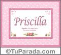 Nombre Tarjeta con imagen de Priscilla para feliz cumpleaños