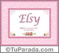 Nombre Tarjeta con imagen de Elsy para feliz cumpleaños