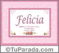 Nombre Tarjeta con imagen de Felicia para feliz cumpleaños