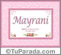 Mayrani, nombre, significado y origen de nombres
