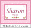 Nombre Tarjeta con imagen de Sharon para feliz cumpleaños