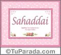 Sahaddai, nombre, significado y origen de nombres