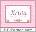 Nombre Tarjeta con imagen de Krista para feliz cumpleaños