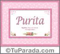 Nombre Tarjeta con imagen de Purita para feliz cumpleaños