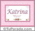 Nombre Tarjeta con imagen de Katrina para feliz cumpleaños