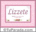Nombre Tarjeta con imagen de Lizzete para feliz cumpleaños