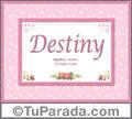 Nombre Tarjeta con imagen de Destiny para feliz cumpleaños