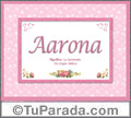 Nombre Tarjeta con imagen de Aarona para feliz cumpleaños
