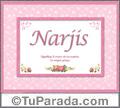 Nombre Tarjeta con imagen de Narjis para feliz cumpleaños