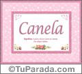 Nombre Tarjeta con imagen de Canela para feliz cumpleaños