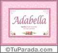 Nombre Tarjeta con imagen de Adabella para feliz cumpleaños