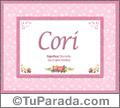 Nombre Tarjeta con imagen de Cori para feliz cumpleaños