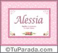 Nombre Tarjeta con imagen de Alessia para feliz cumpleaños