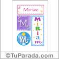 Nombre Miriam para imprimir carteles