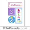 Nombre Zulema para imprimir carteles