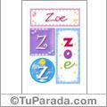 Zoe, nombre, imagen para imprimir