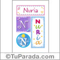 Nombre Nuria para imprimir carteles