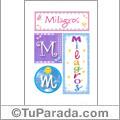 Nombre Milagros para imprimir carteles