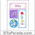 Alba, nombre, imagen para imprimir